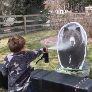 Bear spray practice with a remote-controlled charging bear
