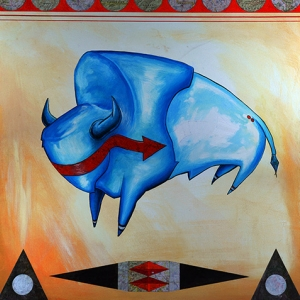 Poster for the President's Fine Art Series 2015. Painting of a buffalo by Louis Still Smoking.