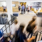 Students, faculty, guests and community walk through the new freshman residence hall, Yellowstone Hall, after a ribbon cutting ceremony at Montana State University in Bozeman, Mont., on Tuesday, Aug. 16, 2016. MSU Photo by Adrian Sanchez-Gonzalez