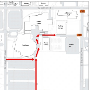 Map showing the south side of the Montana State University with detour information