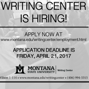 The MSU Writing Center Is Hiring!