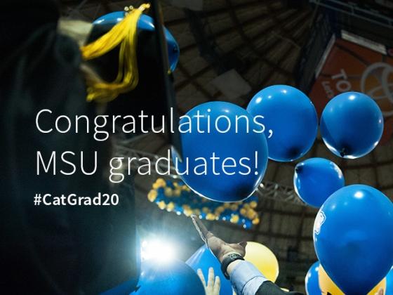 Balloons fall on robed graduates during Montana State University's commencement. Congratulations, MSU graduates! #CatGrad20 | MSU