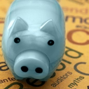Piggy bank symbolizing saving and investing is pictured.