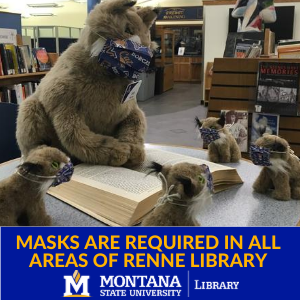 Masks are required at all times and in all areas of Renne Library, even when studying alone.