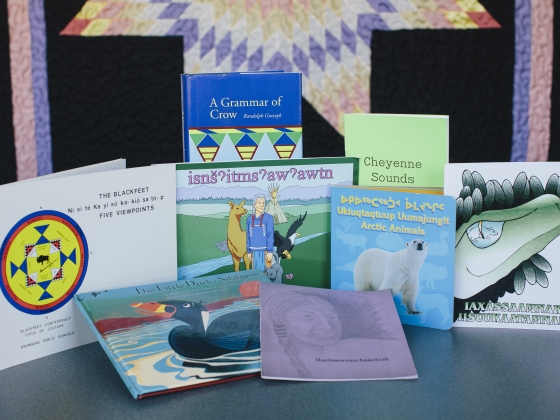 A collection of Native American children's books are laid out on a table   MSU Photo by Adrian Sanchez-Gonzalez