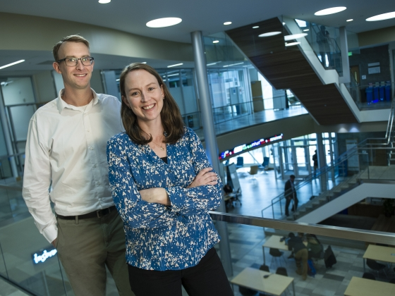 Andreas and Maggie Thorsen posing on the second floor atrium of Jabs Hall.   MSU photo by Kelly Gorham