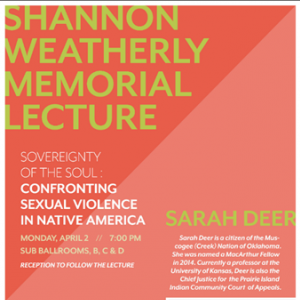 Shannon Weatherly Lecture 2018: Sarah Deer