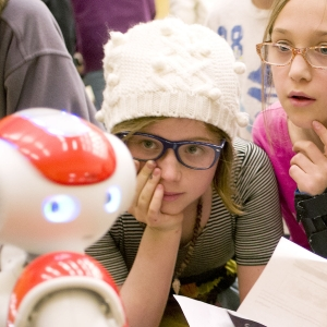Students from Bozeman area elementary schools interact with Looney, a robot from Montana State University professor Hunter Lloyd's robotics class during the annual Nano Days at MSU in Bozeman. The public is invited to Nano Days February 28, 2017 from