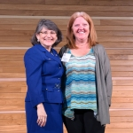 MSU employee Deborah Chiolero, International Programs, (right) is recognized by MSU President Waded Cruzado with an Excellence in Service award for Reliability during the Annual Employee Recognition Awards.