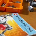 MSU professor Brock LaMeres builds a LEGO Mindstorm robot in his office.