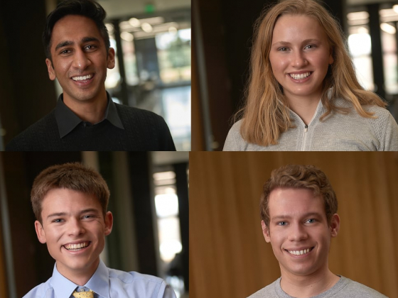 """A composition of four portraits of smiling people. Text across the top reads """"Four MSU students earn prestigious Goldwater scholarships."""" 