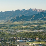 Scenic aerial photo of Montana State University and Bridger Mountains.