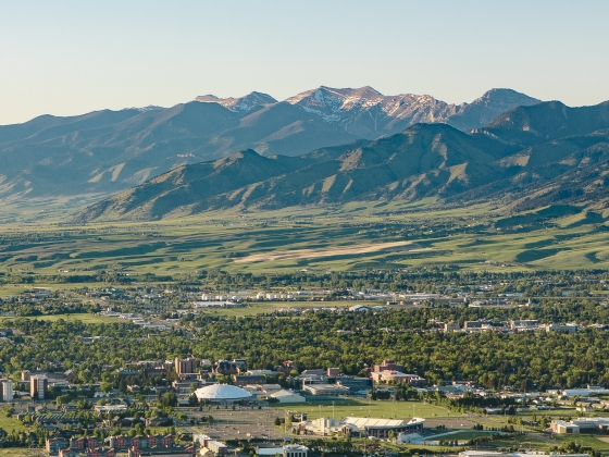 Scenic aerial photo of Montana State University and Bridger Mountains. | MSU photo by Adrian Sanchez-Gonzalez
