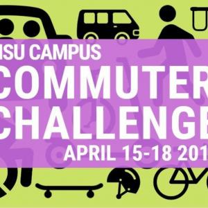 Campus Commuter Challenge text over icons of a person walking, a person in a wheelchair, a skateboard, a bike, bus, van, and carpool car