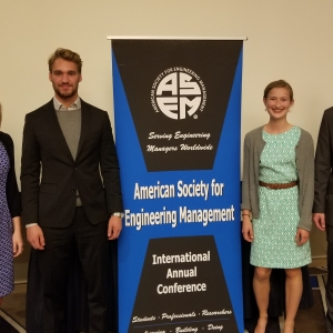 photo of four MSU students who competed at ASEM conference