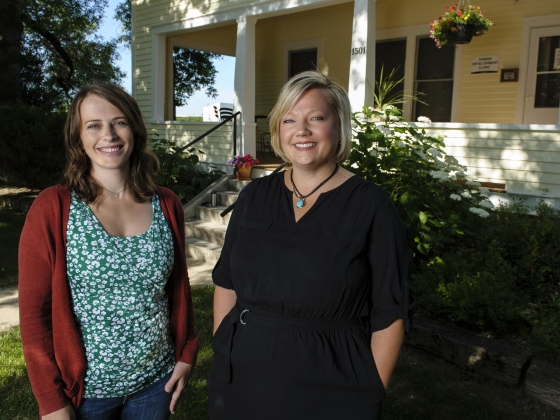 Montana State University counseling professors Anna Elliott, left, and Rebecca Koltz are pictured outside the Human Development Clinic near MSU's Bozeman campus.  | MSU