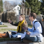 Alexandra Kress and Michael Sisemore were among a group of students from the Montana State University School of Architecture who fanned out into the nearby Bozeman neighborhood on Monday, April 4, 2016. The students took part in a project to collect information on the homes for a historic building survey that will be compiled by officials with the City of Bozeman. MSU Photo by Sepp Jannotta.