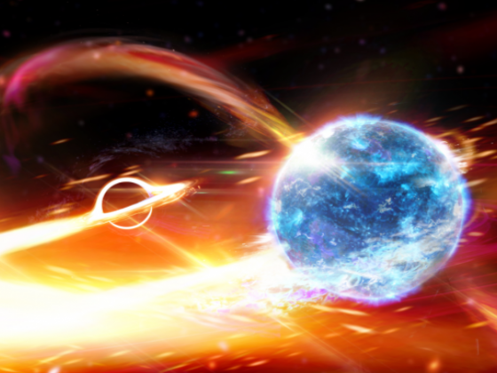 Rendering showing a collision of two objects in space, one bright blue in the foreground and the other black with glowing edges in the background. Flares that look like flames swirl around them. |