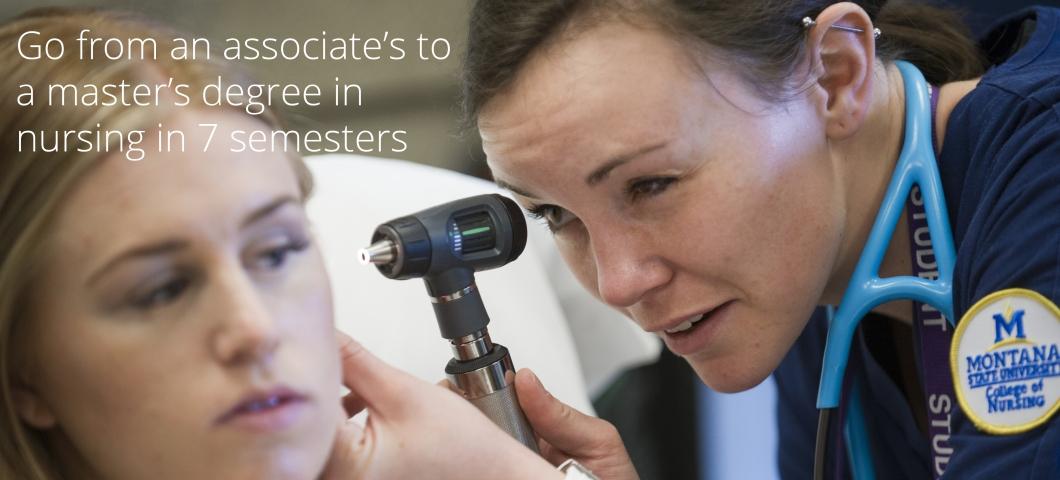 Nursing student with otoscope