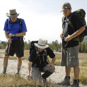 MSU professors Brent Peyton, Matthew Fields and graduate student Jacob Valenzuela sampling in Yellowstone.