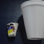 These cups were once the same size, but the one at left went to the bottom of the North Atlantic Ocean while the R/V Knorr collected core samples. The pressure of the water turned the cup into a miniature. (Photo by Max Amenabar).