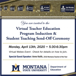 Join us for the Spring 2020 Teacher Education Induction Ceremony & Student Teacher Send-Off on April 13th from 5:30pm-6:30pm.