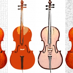 Artistic depiction of four cellos