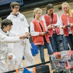 The Ladybots team, right, participates in the FIRST Tech Challenge robotics competition in Shroyer Gym at Montana State University on Friday, Jan. 27, 2017 in Bozeman, Mont. Middle school and high school students from across Montana flock to MSU for the annual robotics competition hosted by the MSU College of Engineering. MSU Photo by Adrian Sanchez-Gonzalez