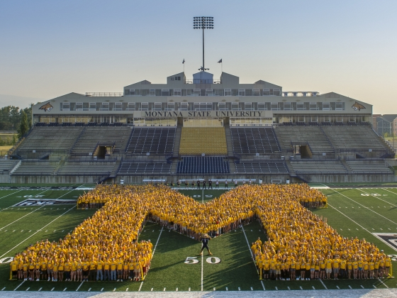 """Student """"M"""" photo, part of the festivities during MSU Debut 2017 