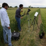 MSU weed scientist Prashant Jha, left, and Bryan Scherrer, doctoral student in MSU's Department of Electrical and Computer Engineering, perform hyperspectral imaging of herbicide-resistant and susceptible kochia strains in barley and wheat fields at the MSU Southern Agricultural Research Center in Huntley in summer 2016.