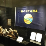 This display case devoted to Montana and the new agreement between the Museum of the Rockies and the Kumamoto Prefecture is the first thing visitors see when they enter the Mifune Dinosaur Museum in Japan. (Photo courtesy of the Museum of the Rockies).