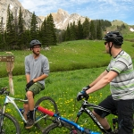 Mountain biking in an alpine meadow along the Shafthouse Trail in the Bridger Mountains near Bozeman (Admissions)