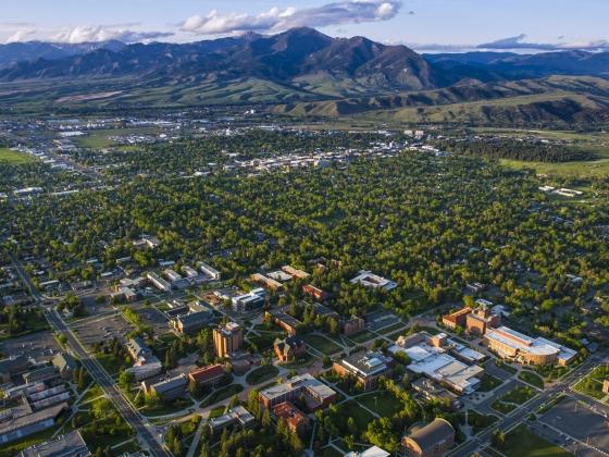 Aerial view of Bozeman, Montana | MSU photo by Kelly Gorham