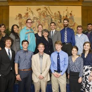 Major scholarship winners at reception. | MSU photo by Kelly Gorham