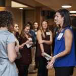 Montana State University engineering students network with MSU alumni and company recruiters during the 14th annual Women in Engineering Dinner at the MSU SUB Ballroom on February 23, 2017. MSU photo by Jesslyn Marie.