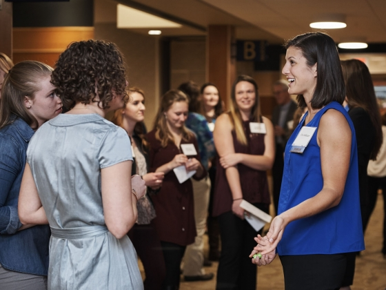 MSU engineering students network during the 2017 Women in Engineering Dinner