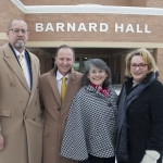 From left, Montana State University College of Engineering Dean Brett Gunnink, Tim Barnard, MSU President Waded Cruzado and Mary Barnard gather in front of Barnard Hall, formerly the Engineering and Physical Sciences Building, during a naming ceremony Thursday December 15, 2016 in Bozeman. MSU photo by Kelly Gorham
