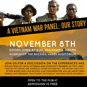 A Vietnam War Panel: Our Story event poster with bronze soldier statues