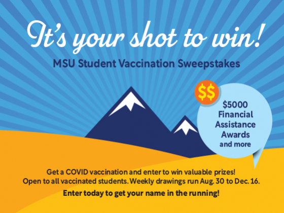 It's your shot to win! MSU Student Vaccination Sweepstakes. |