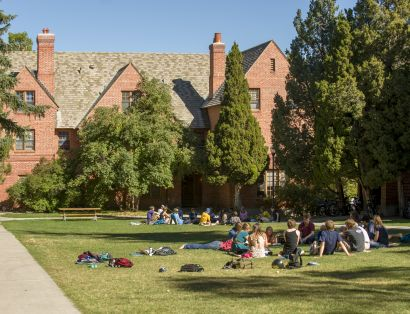 MSU students study outdoors near the Honors Quads. |