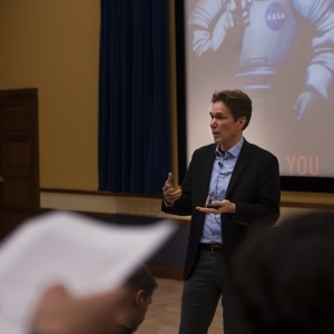 NASA Marshall Space Flight Director Dr. Paul McConnaughey presents about NASA's future missions and visits with students during a master class.