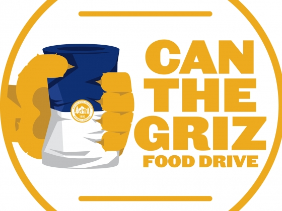 "Logo for ""Can the Griz"" food drive shows animal hand squeezing a can. 