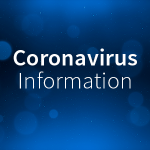 Coronavirus information text over a blue background