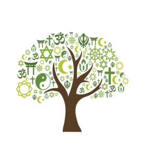 Interfaith Forum logo, tree with different religious symbols as branches