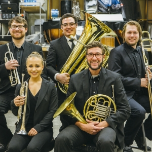 Posed photo of the five student members of the Bridger Brass quintet.