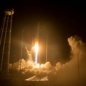 Launch of Orbital ATK rocket from NASA Wallops facility in Virginia