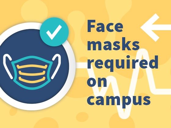 A graphical image of a face mask in a circle on a patterned background. | Alison Gauthier/MSU