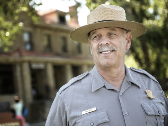 Yellowstone National Park superintendent Dan Wenk standing in front of park headquarters.   MSU photo by Kelly Gorham