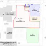 Site plan for MSU parking structure construction. |