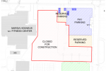 Site plan for MSU parking structure construction. |